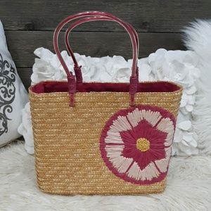 BLOOMINGDALES NEW STRAW BASKET TOTE